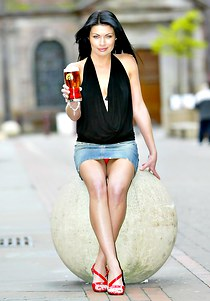Alison King in a short short skirt