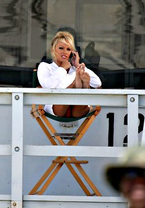 Pamela Anderson under table upskirt