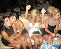Partying girls share upskirts